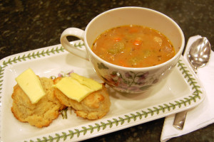 Einkorn biscuits and soup