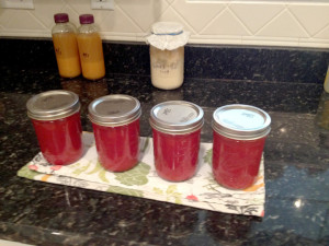 Jars of tomatoe soup ready for the freezer
